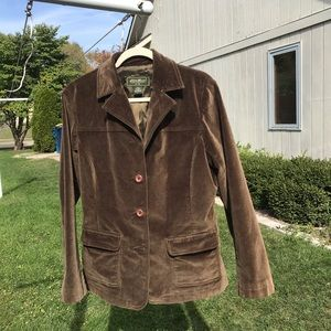 EDDIE BAUER VELVET DARK BROWN JACKET